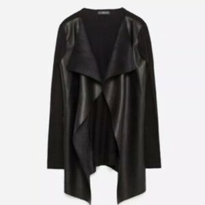 Zara Vegan Leather Open Drape-y Cardigan/Jacket